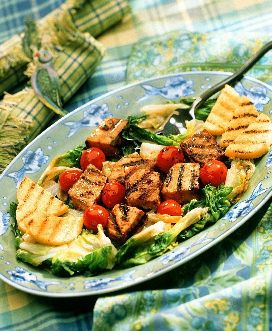 Grilled Cubed Swordfish with Polenta