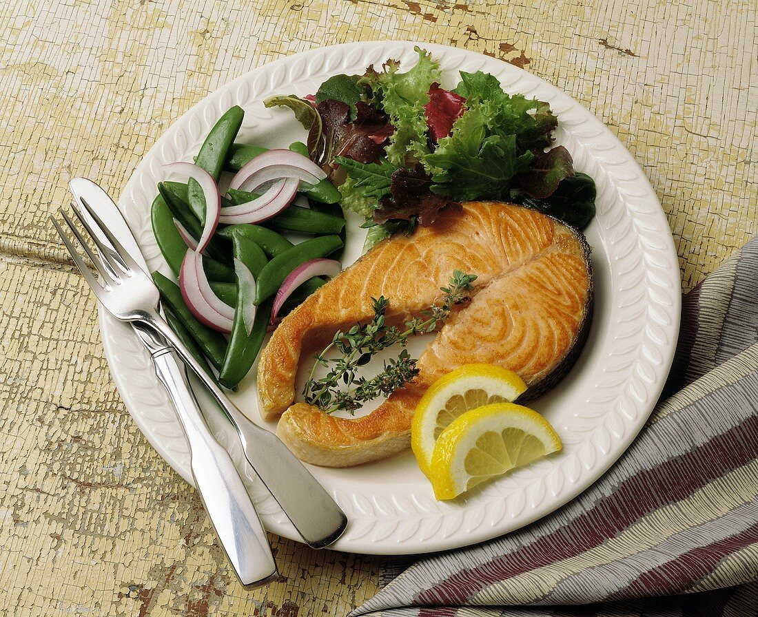 Salmon Steak with Sugar Snap Peas and a Side Salad