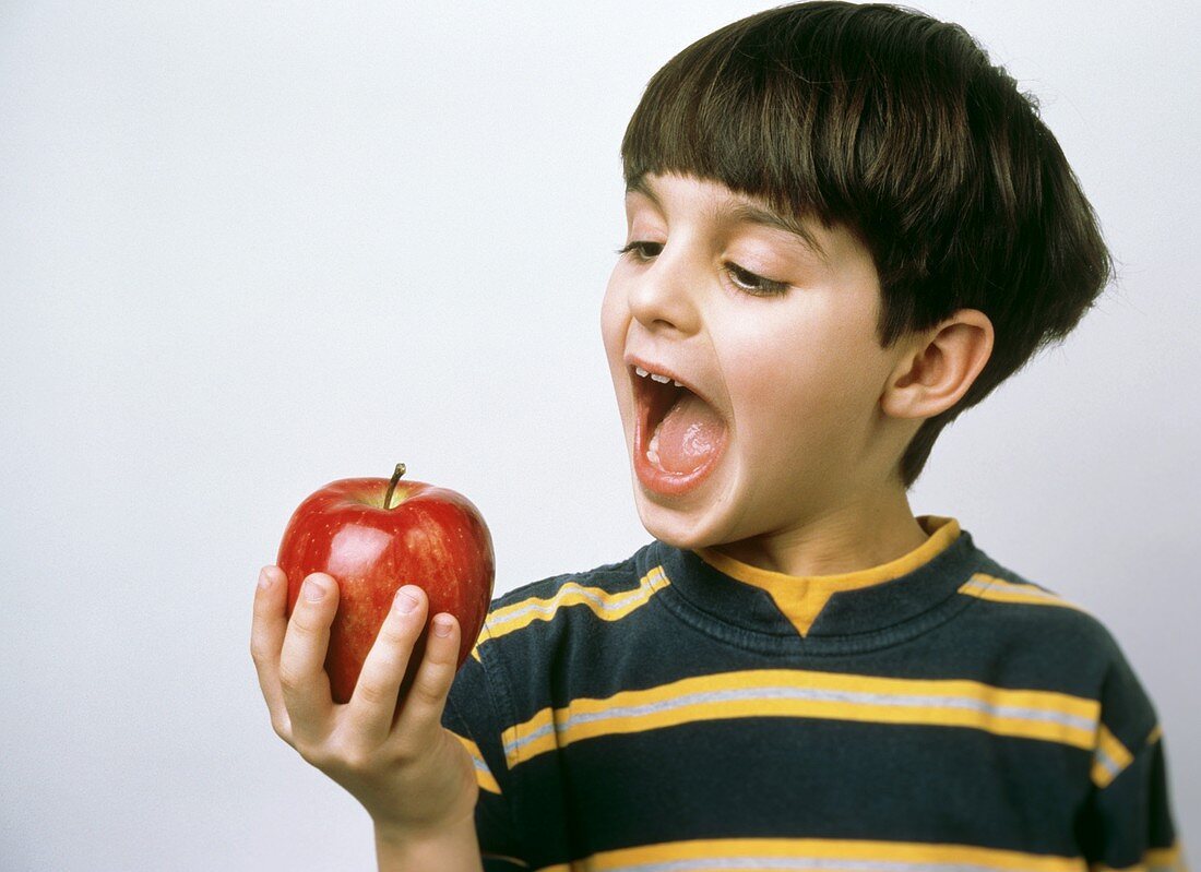 A Young Boy About to Eat a Red Delicious Apple