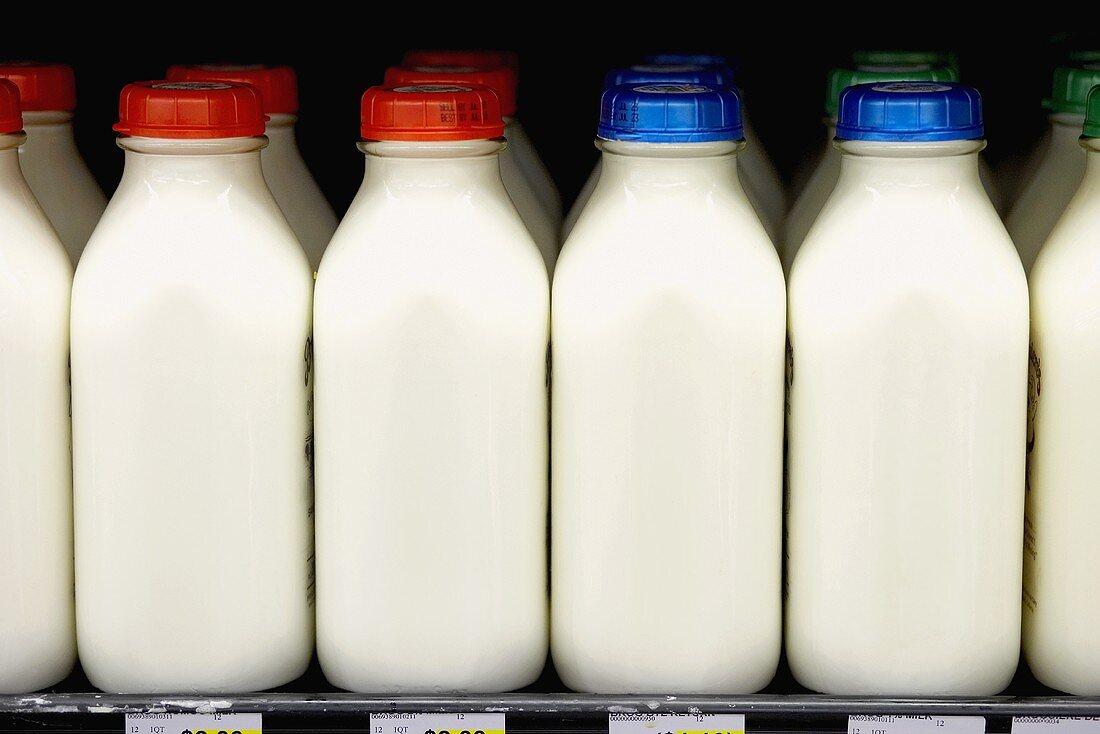 Milk bottles in rows in a supermarket (USA)