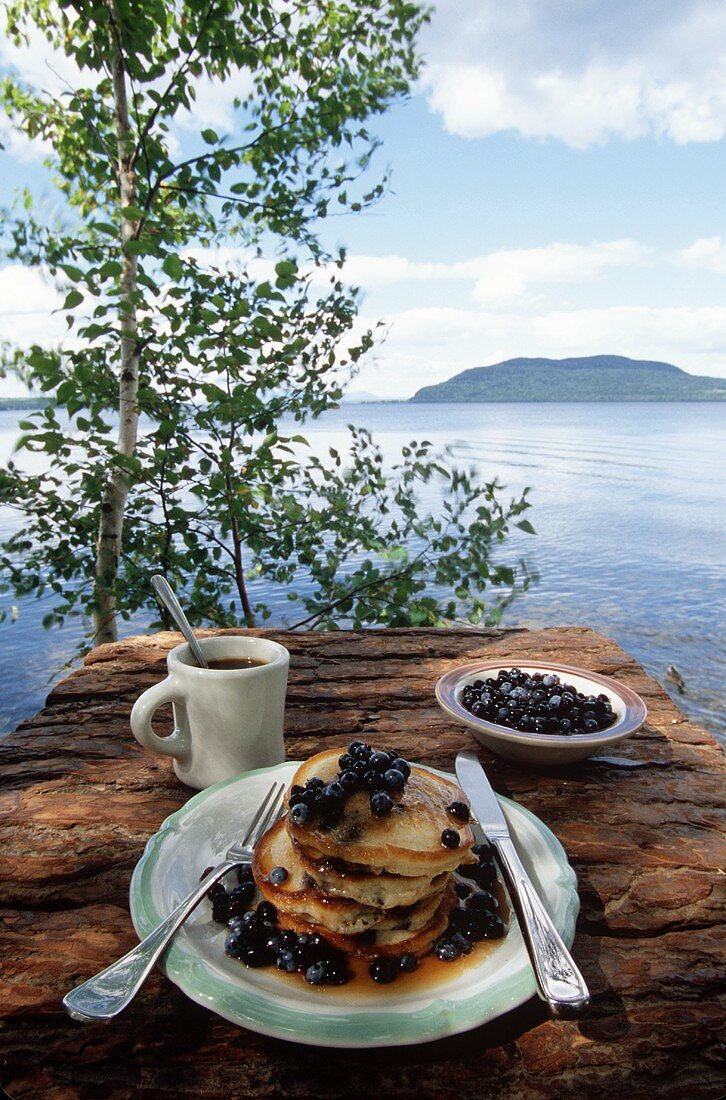 Pancakes with blueberries and coffee mug on wall by lake