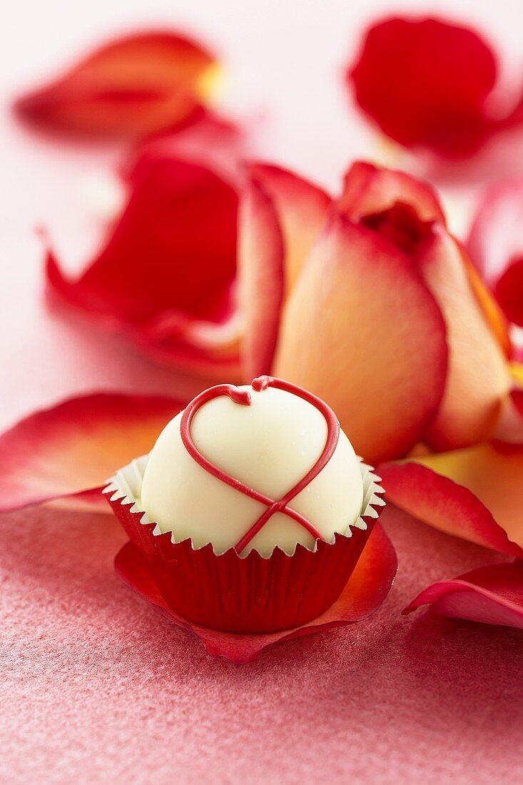 White Chocolate Truffle on a Rose Petal, Rose Petals