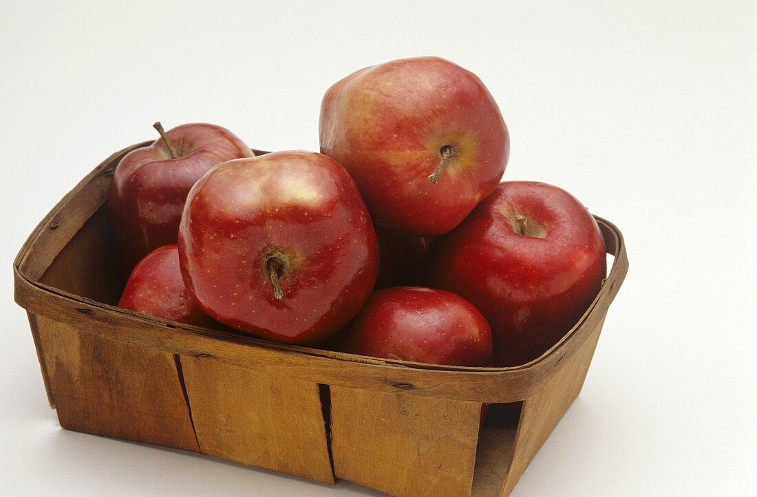 Basket of Red Delicious Apples; White Background