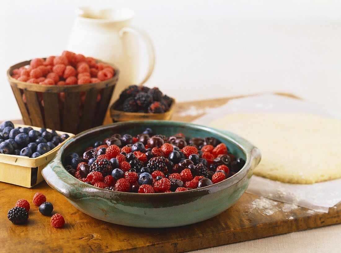 Ingredients for Making a Mixed Berry Pie