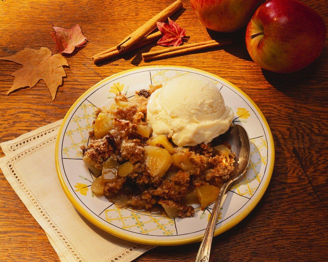 A Serving of Apple Crisp A la Mode