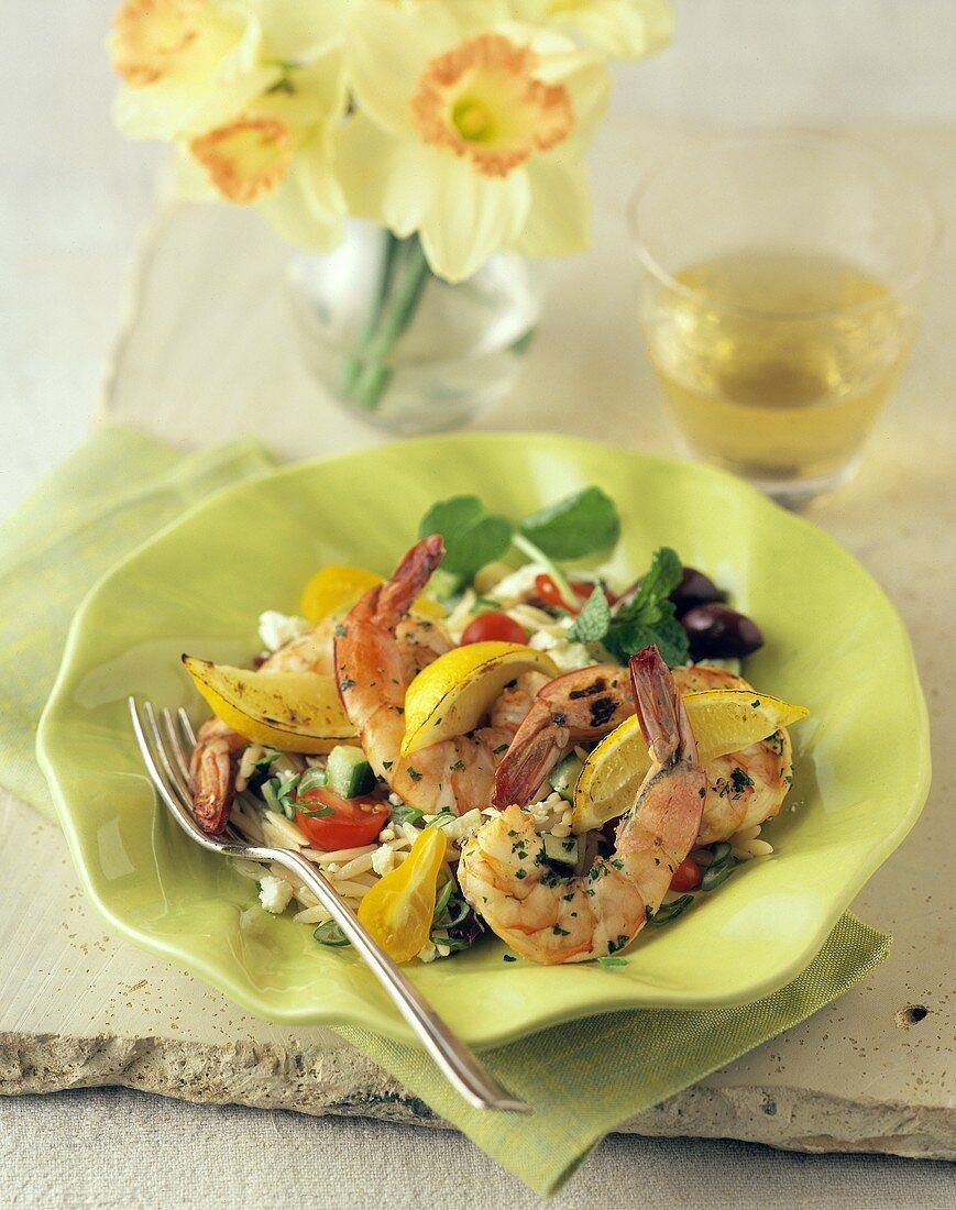 Grilled Shrimp Orzo Feta Salad