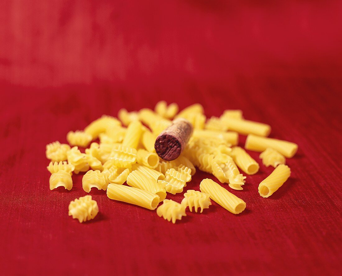 Assorted Dried Pasta with Wine Cork