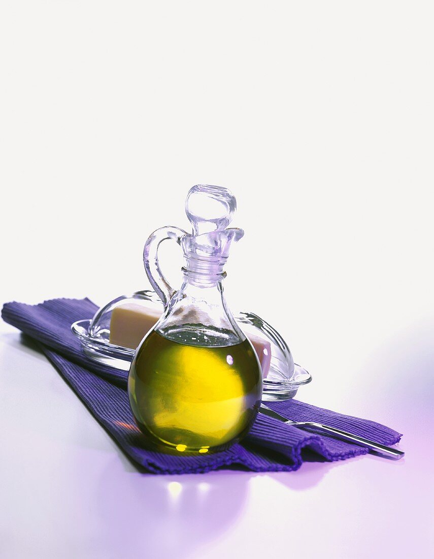 Olive Oil in a Cruet with a Dish of Butter