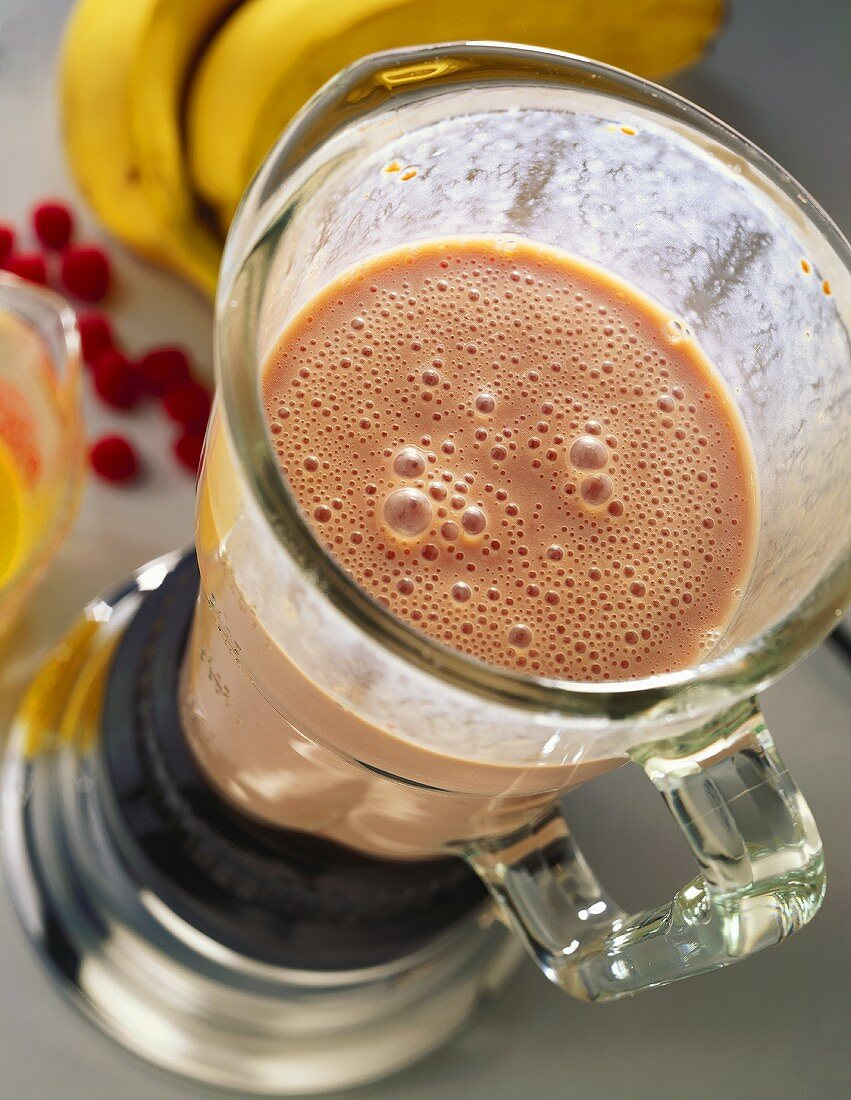 Banana and Berry Smoothie in a Blender