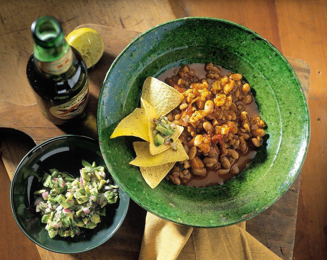 Bean and Barley Chili with Corn Chips and Avocado Salsa