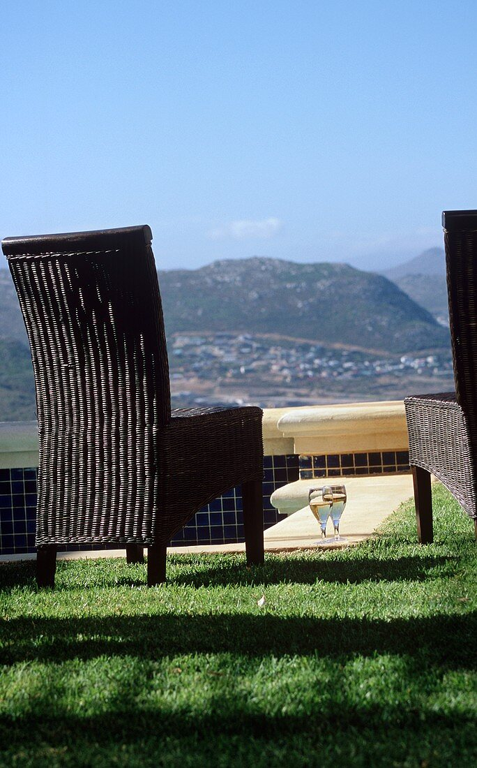 Chairs and Wine Set Outside at Four Seasons Hotel with View in Chiang Mia Thailand
