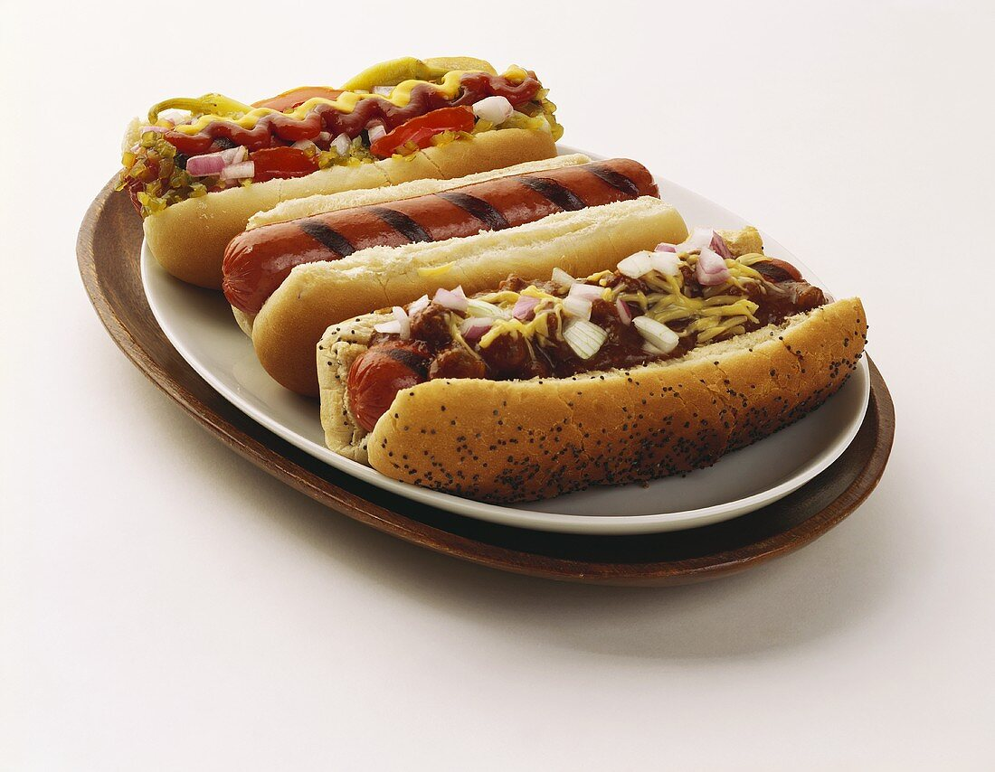 Three Assorted Hot Dogs: Loaded, Plain and with Chili