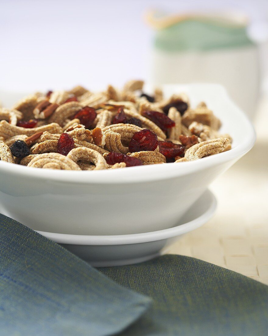 Fruit and Fiber Cereal in a White Bowl