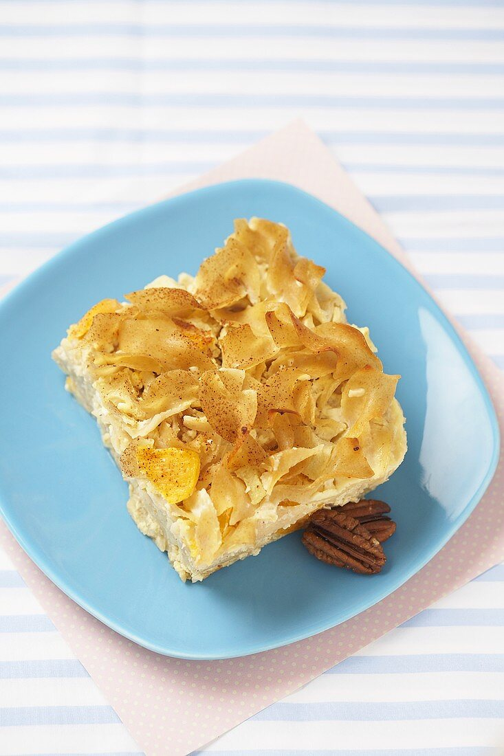 Piece of Kugel on a Blue Plate