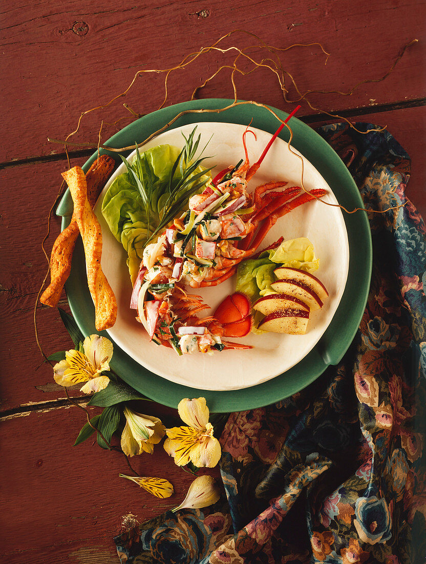 Lobster Salad with Bread Sticks from Overhead