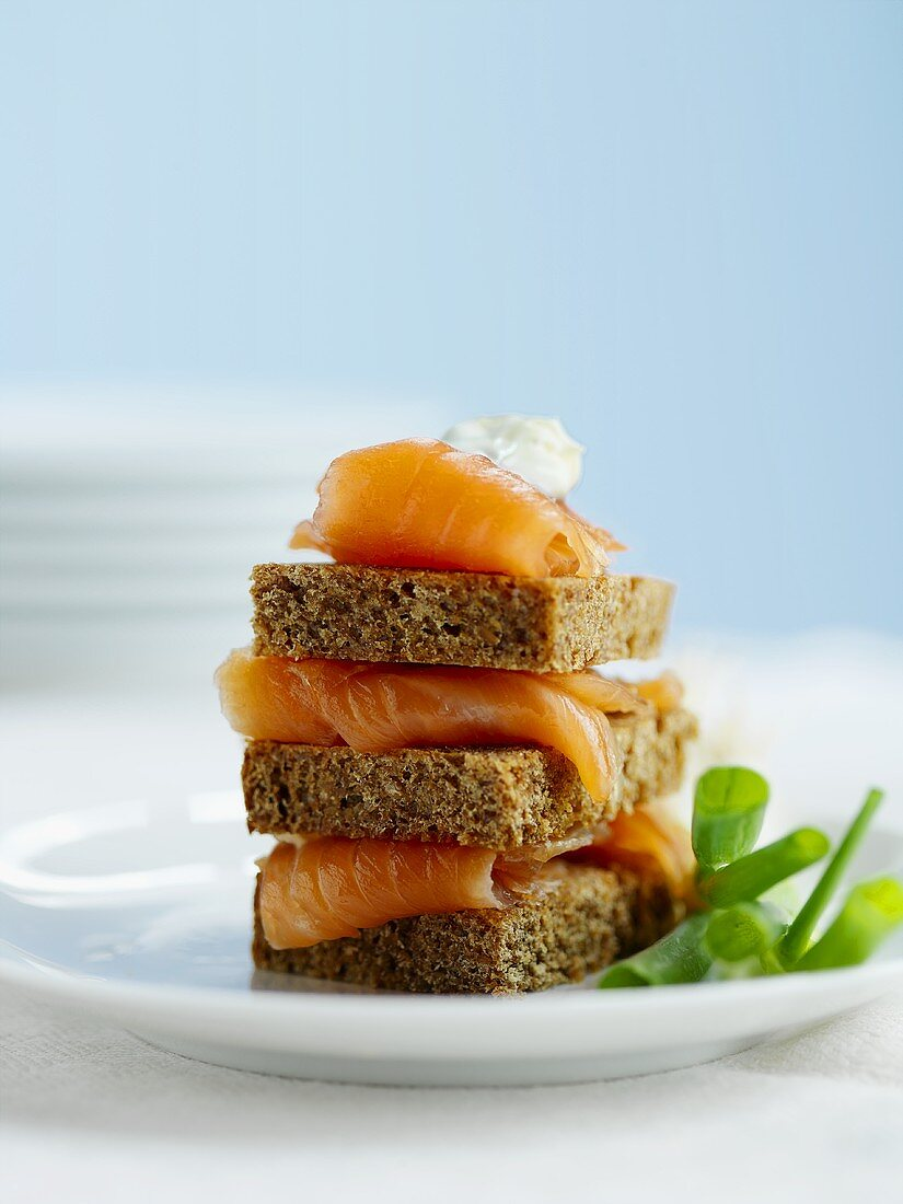 Gravlax on Rye with Sour Cream and Scallions