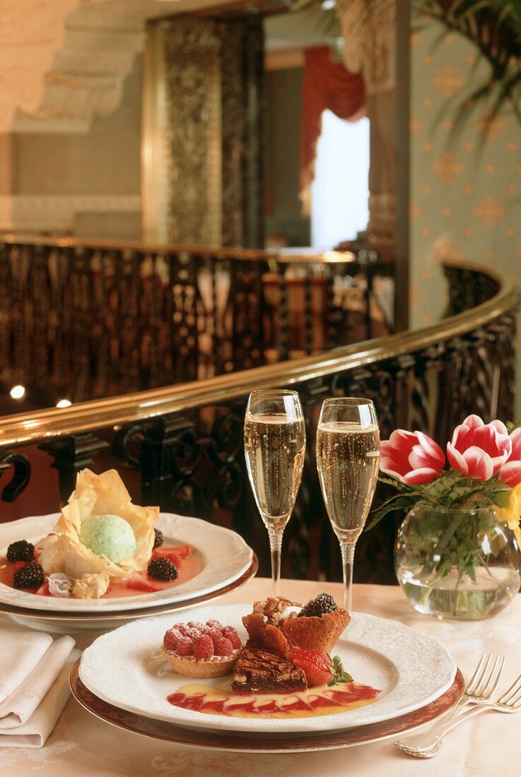 Champagne with Dessert Pastries on Staircase