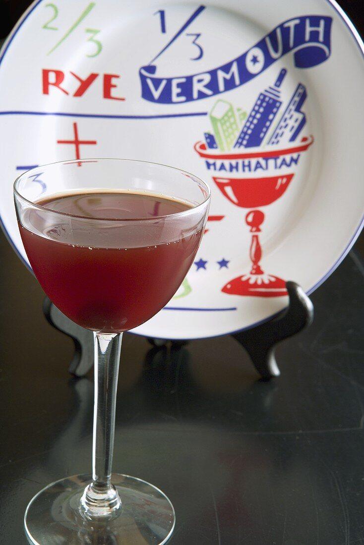 Manhattan in a Glass; Plate with Manhattan Recipe