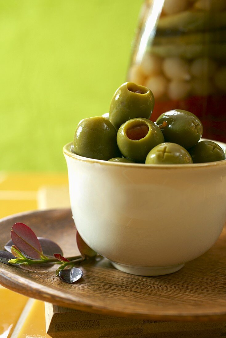 Bowl of Green Olives with Pimentos