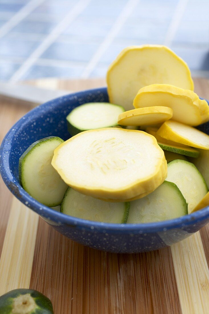 Bowl of Sliced Organic Yellow Squash and Zucchini