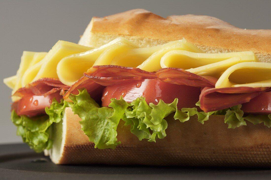 Ham, Cheese, Tomato and Lettuce Sandwich on Crusty Bread