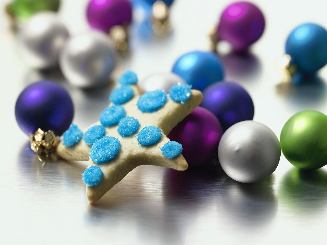 Star Cookie with Holiday Ball Decorations