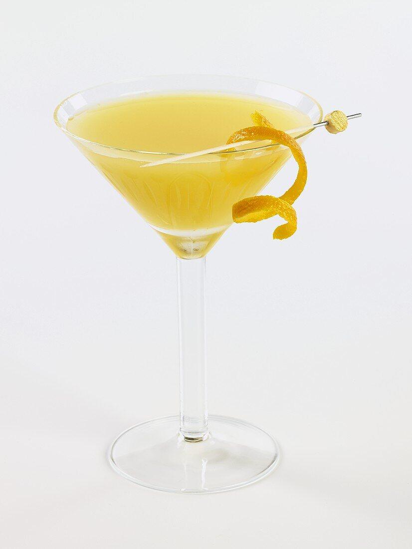Screwdriver in a Stem Glass with Orange Peel