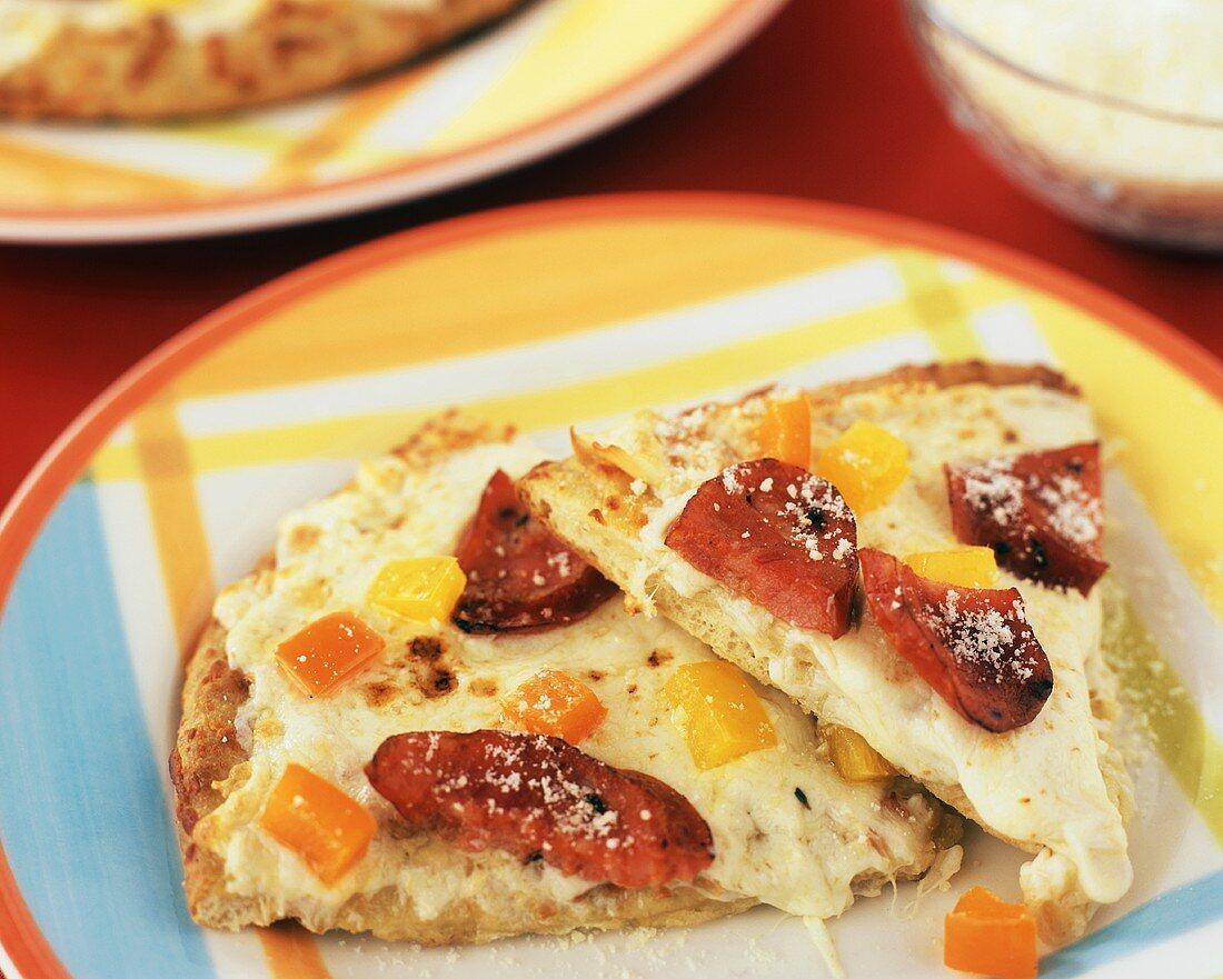 White Pizza with Andouille Sausage and Bell Peppers
