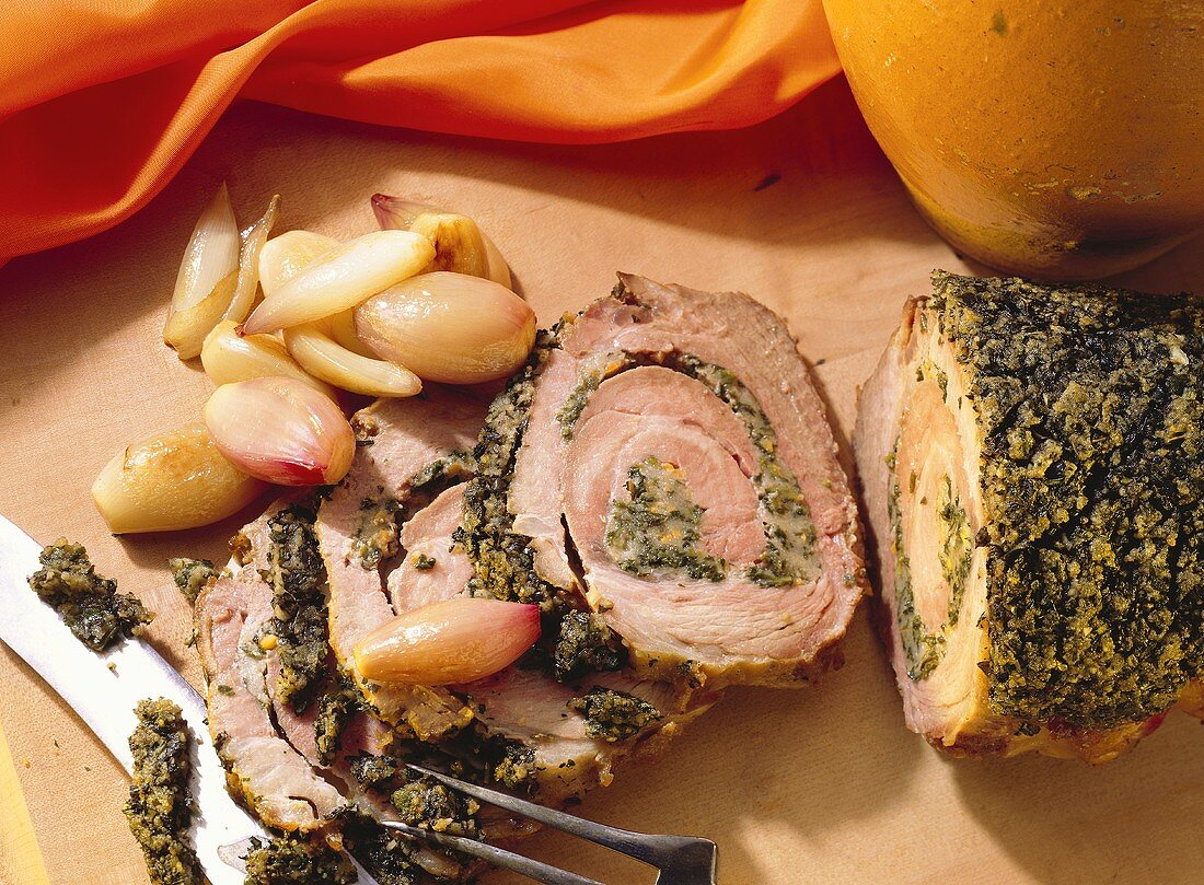 Herbed Rolled Roast with Shallots
