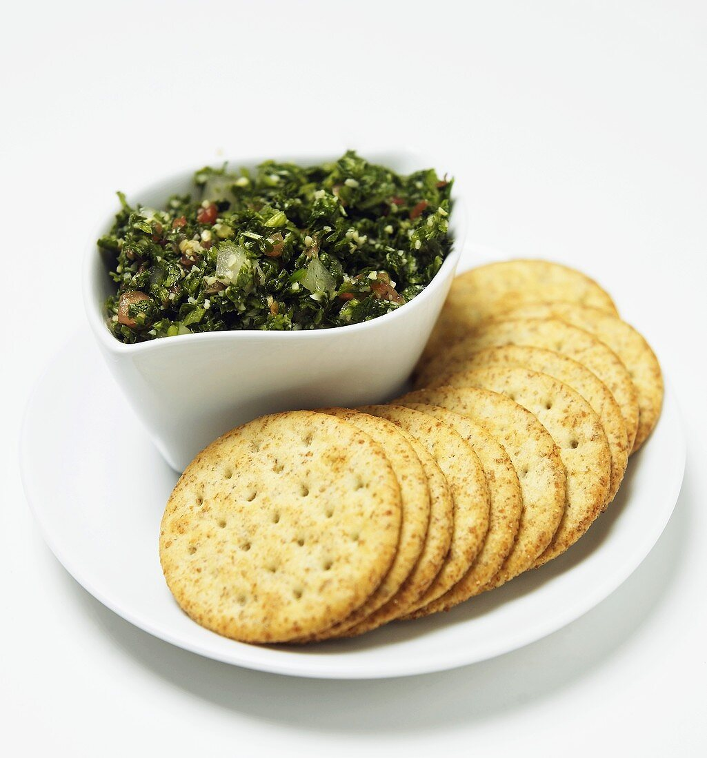 Tabouli Spread with Whole Wheat Crackers