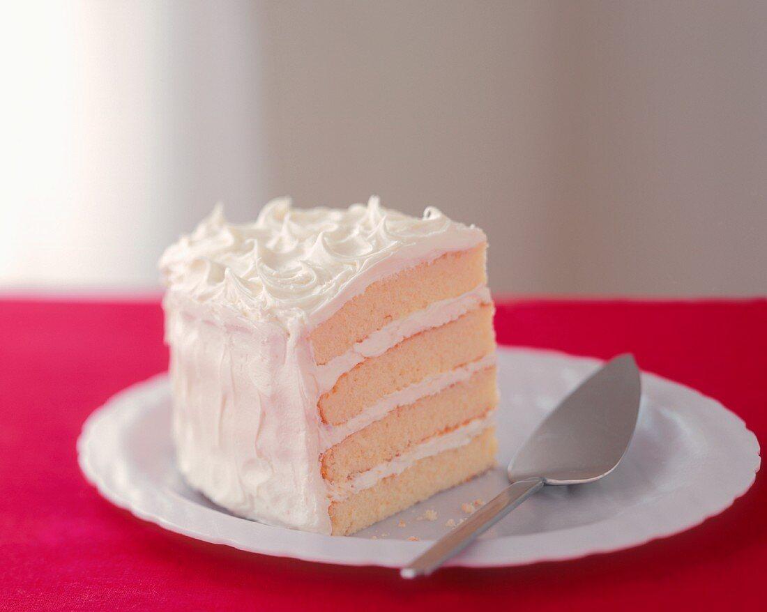 A Slice of Triple Layer White Cake