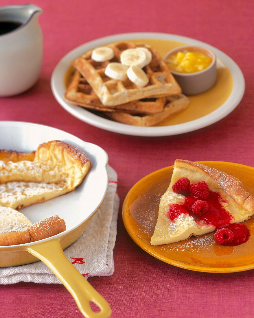 Dutch Baby with Raspberries and Waffles with Bananas