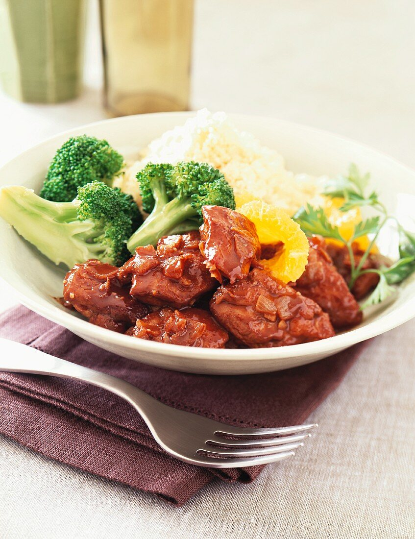 Orange Glazed Chicken with Rice and Steamed Broccoli