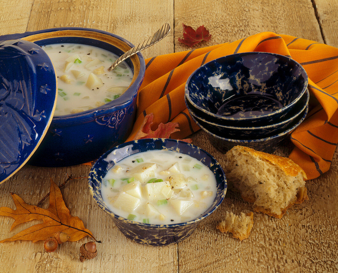 Clam Chowder in a Pot and in a Bowl with Bread and Autumn Leaves