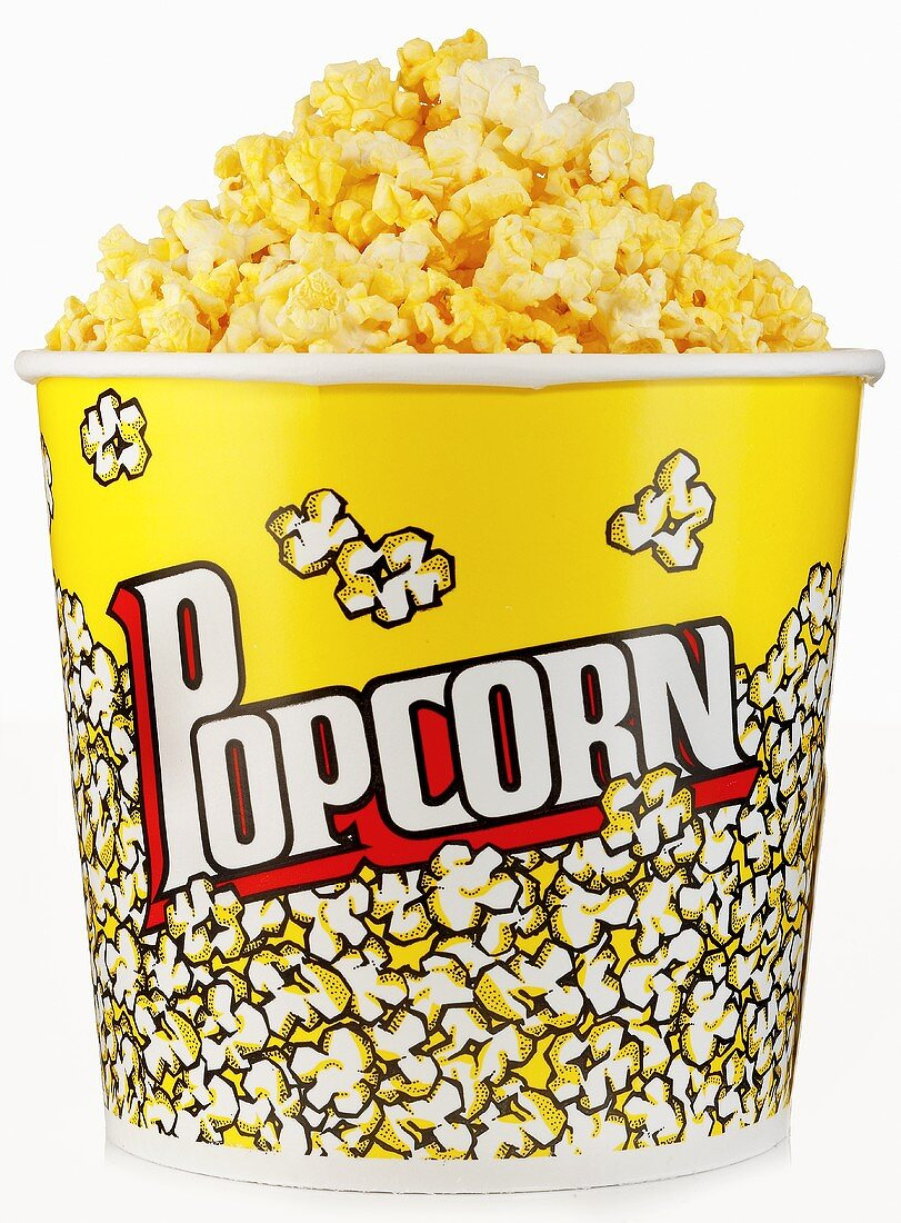A Large Container of Buttered Popcorn