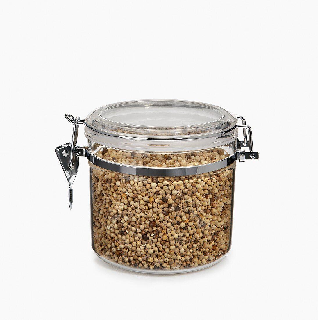 White Peppercorns in an Airtight Jar