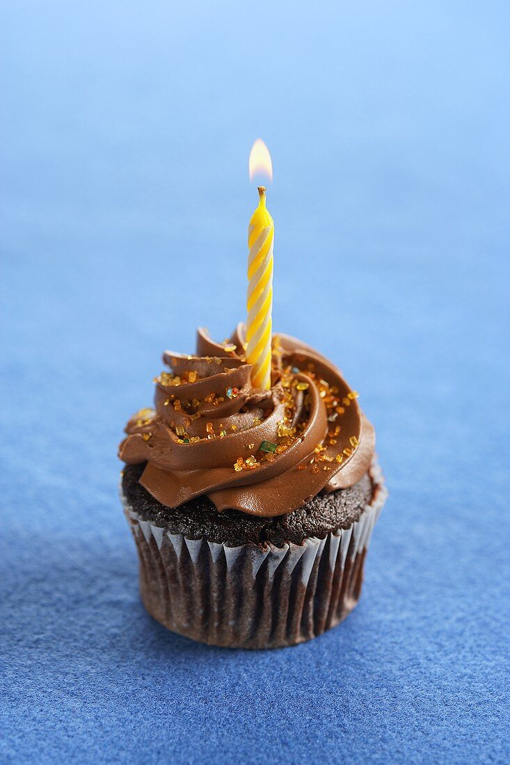 A Chocolate Cupcake with Chocolate Frosting, Colored Sprinkles and a Lit Yellow Candle