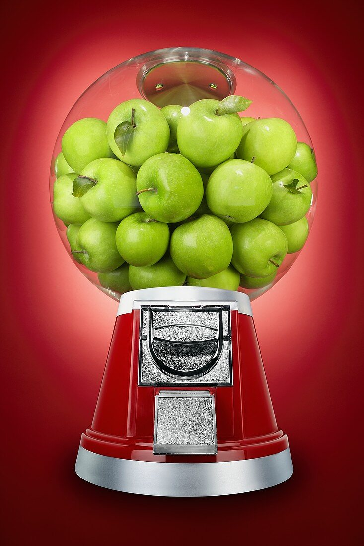 Granny Smith Apples in a Candy Dispenser