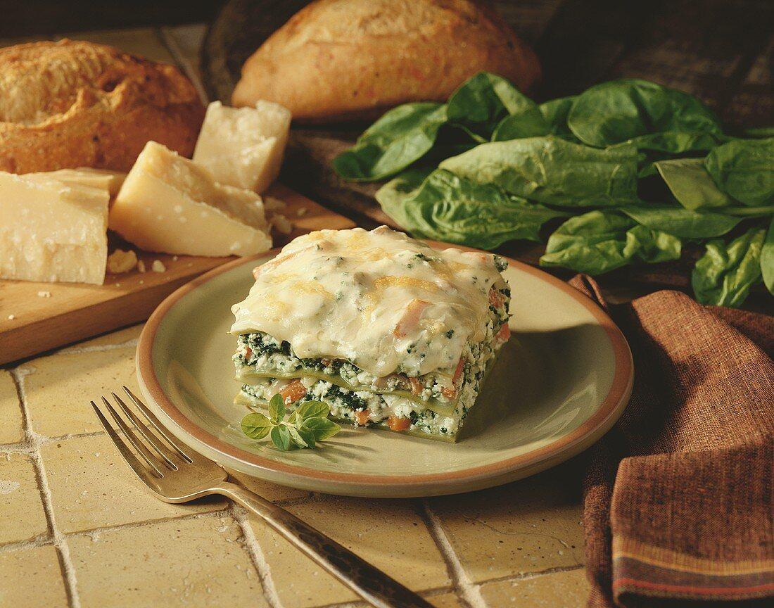 A piece of vegetable lasagna