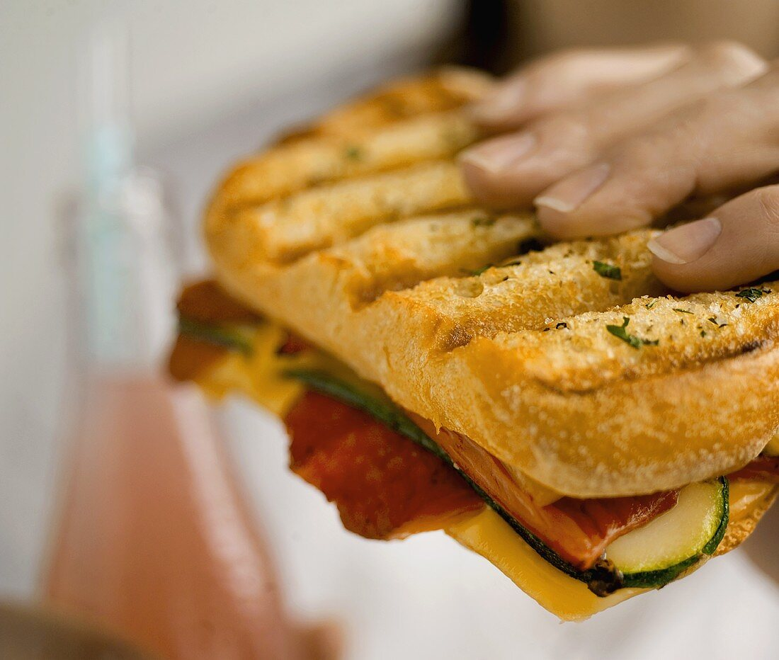 A Hand Holding A Vegetable Panini