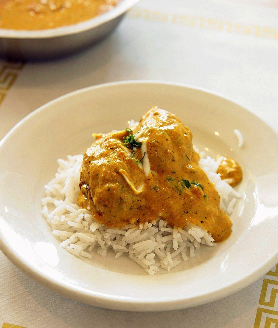 Mala Kofta Served over Jasmine Rice in White Bowl