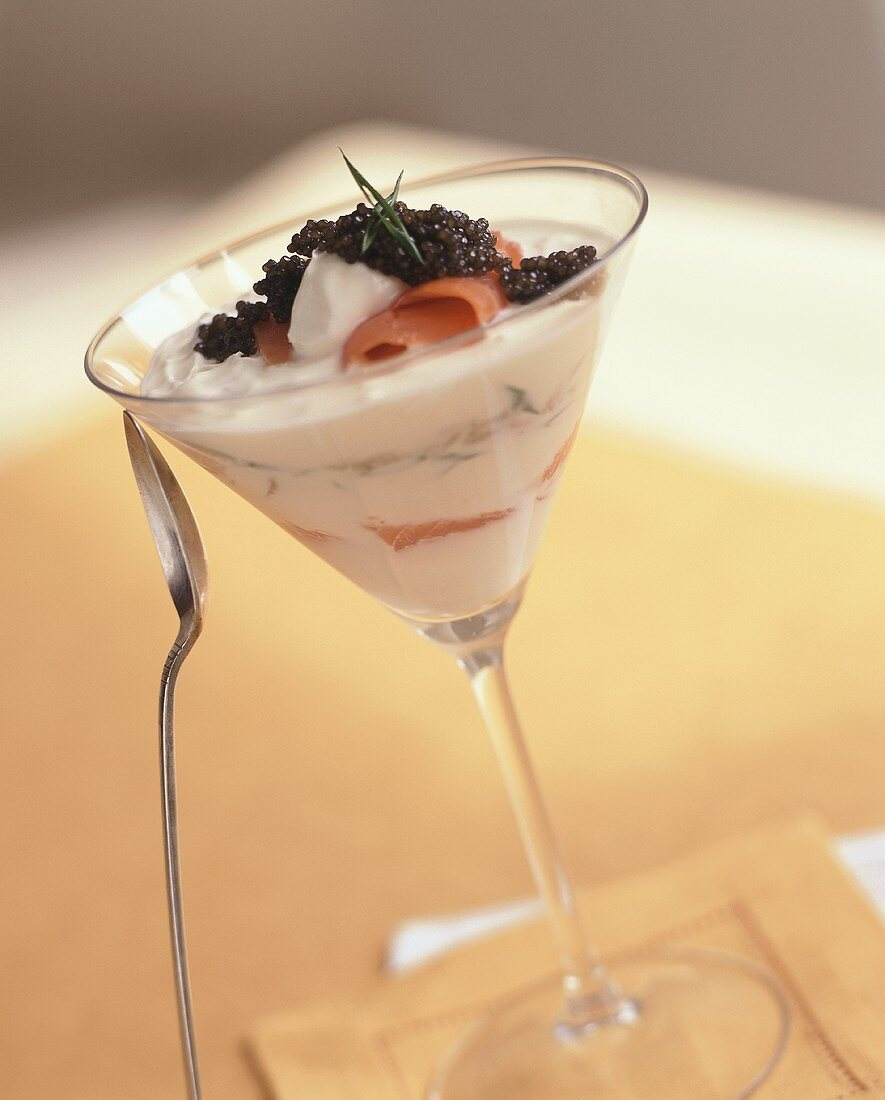 Layered smoked salmon, crème fraîche and caviar