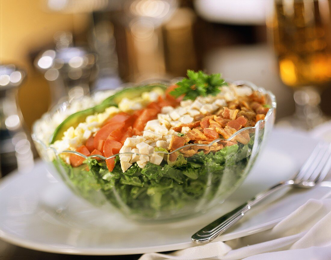 Cobb Salad in Clear Bowl