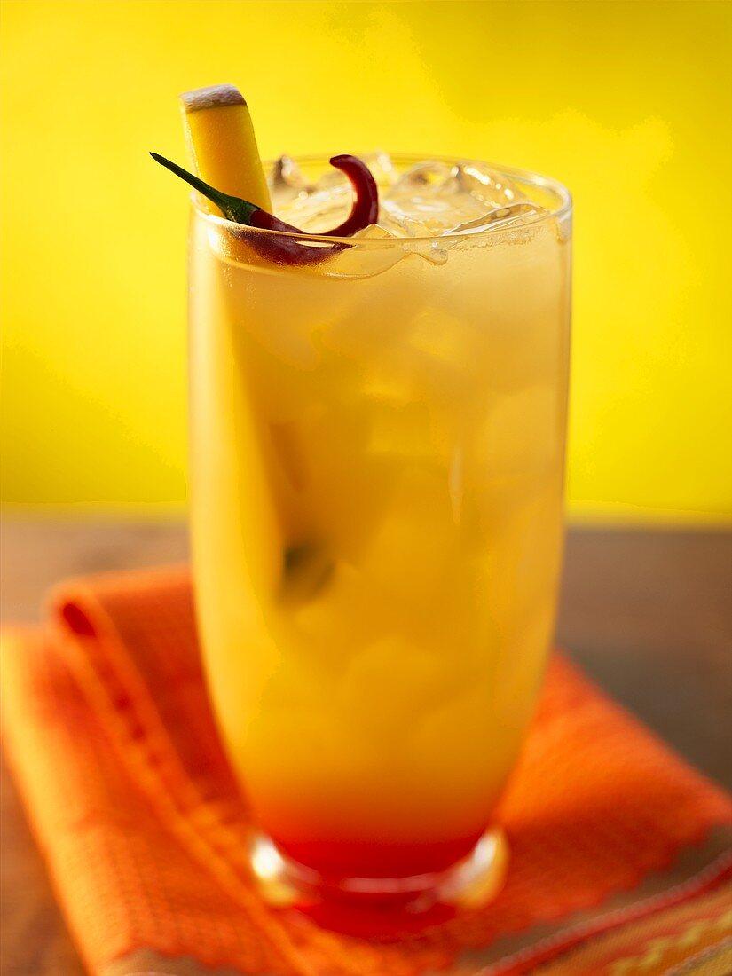 Hot Mango Cocktail on the Rocks; Colorful Cloth Napkin
