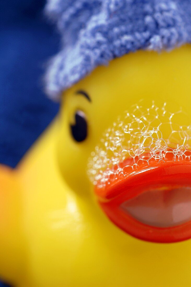 Close Up of a Rubber Ducky with Soap Suds on Beak