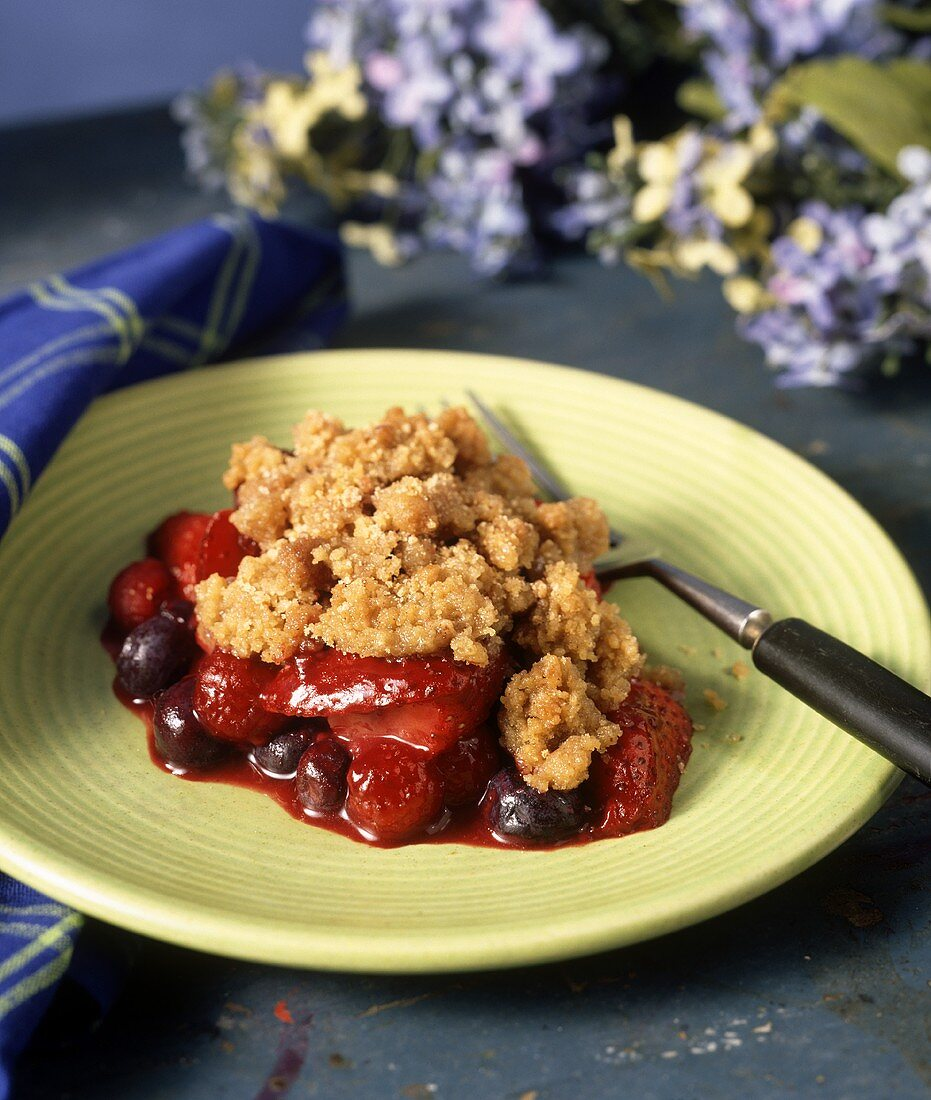 Berry pudding with rolled oat and cinnamon crumble