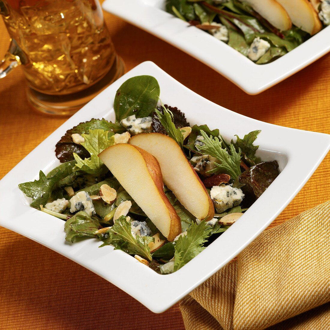 Spring Greens with Blue Cheese, Almonds and Pear Slices with Raspberry Vinaigrette