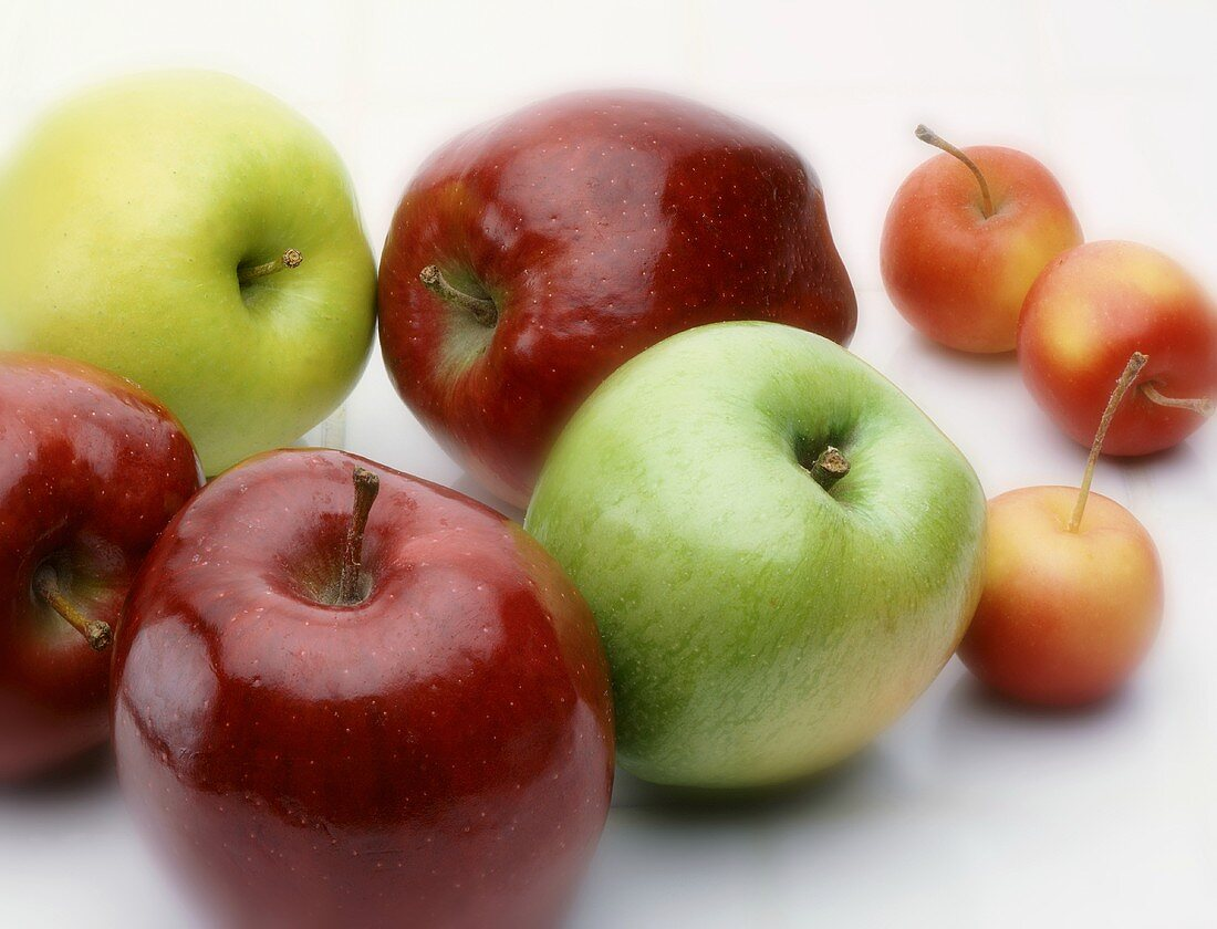 Apples and Cherries on White