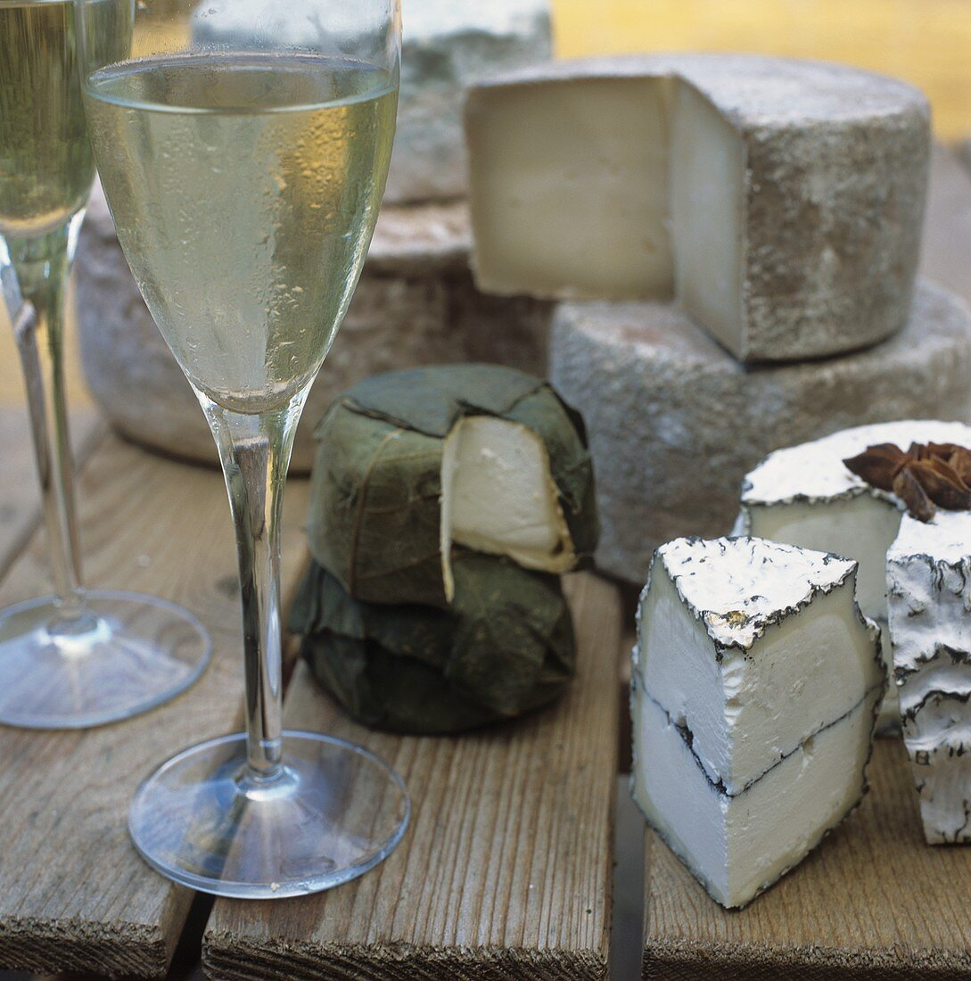 Glasses of White Wine with Assorted Cheese on Wooden Table