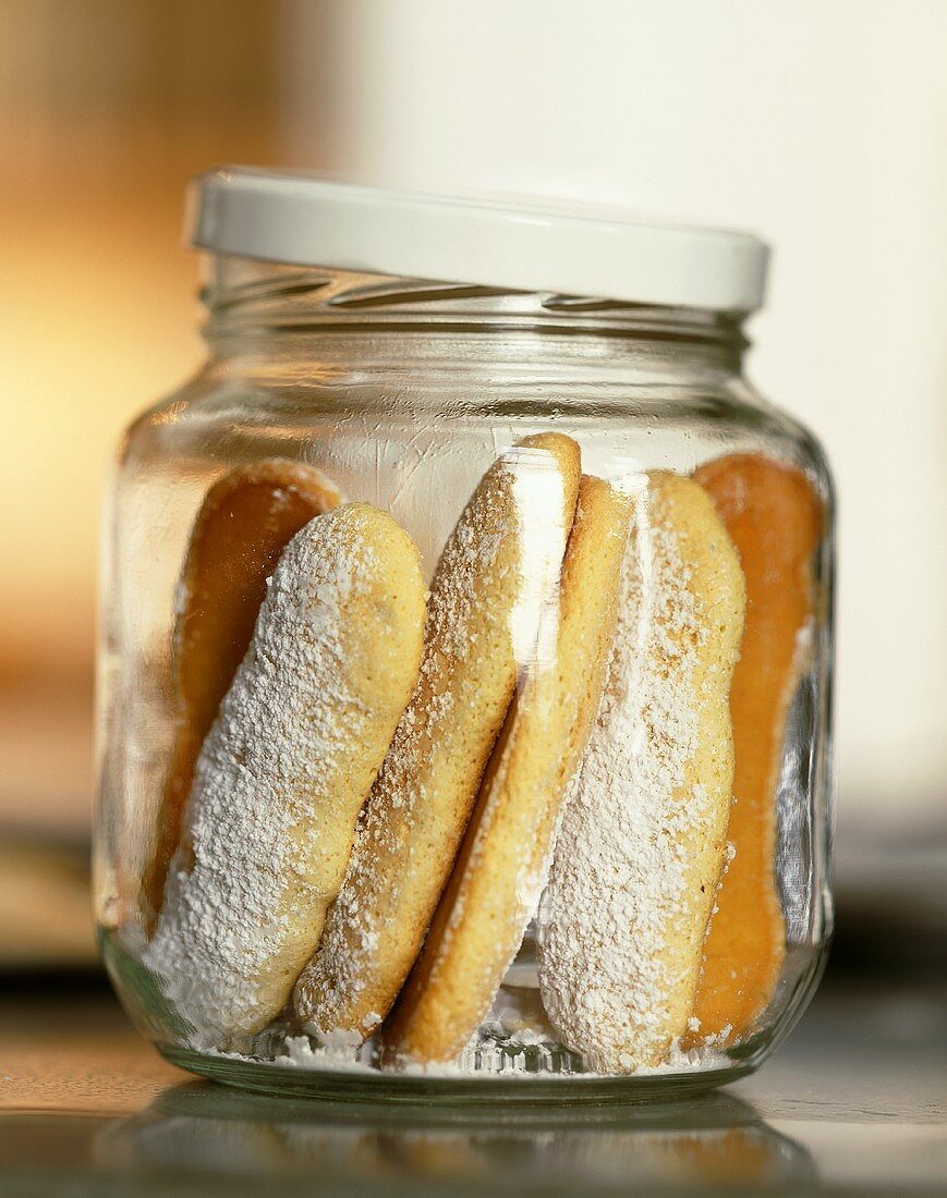 Lady Finger Cookies in a Glass ar with Lid